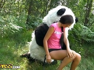 Fucky-Fucky in the forest with a large plaything panda