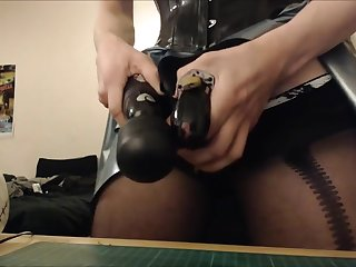 LATEX CHASTITY SISSY SLUT CUMS HARD WHILE CAGED - RUINED ORGASM