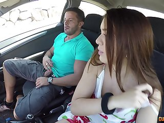 Hardcore car sex and cock riding by a brunette slut Diana Rius