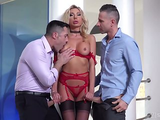 Whorish blonde in sexy red lingerie and stockings Marilyn Crystal gets DPed