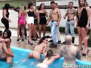 A Fiesta In The Pool - outdoor group sex party with young college students