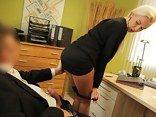 LOAN4K. Blondie horny with pigtail is owned by loan...