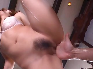 Hairy Japanese milf gets the dick the hard way