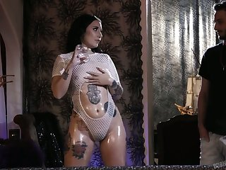 Tattooed hooker Stella Raee goes wild on a hard big dick and gets doggy fucked