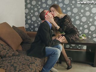 Long haired astonishing beauty in stockings Taissia Shanti is poked from behind