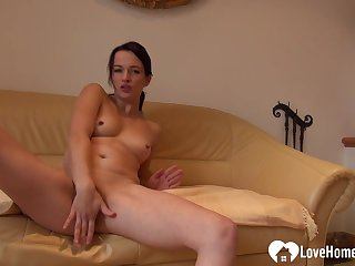 Nasty babe wants some attention while jerking off