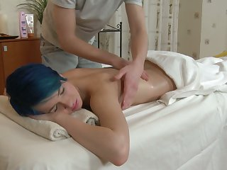 Blue haired emo girl Ebba loves being fucked by her private masseur