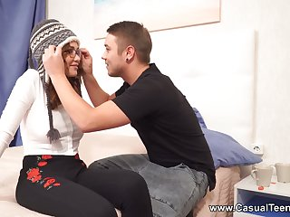 After a freezing walk outdoors Russian GF Gisha Forza rides strong cock