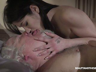 Kinky geezer fucks seductive brunette Emily Brix and licks her yummy pussy