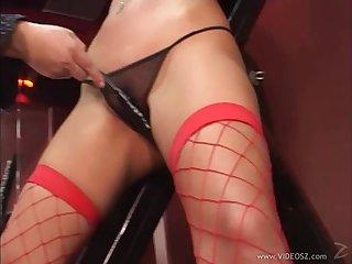 Slut in fishnet gets her pussy banged after BJ and rimjob