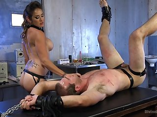 Exclusive femdom with a busty mom acting tough