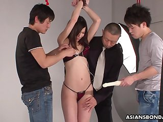 Three Japanese dudes fuck tied up porn model Kurara Makise