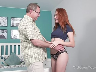 Old step uncle enjoys fucking lovely red haired niece Foxy Lee