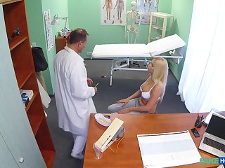 Natural tits blonde girl gets a full body exam with doctor's dick