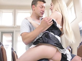 Filthy babe in maid uniform Emma Starletto is fucked by married man