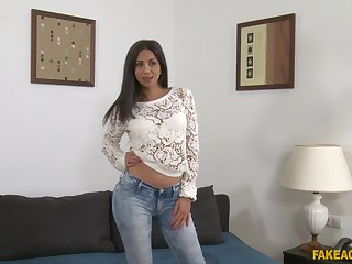 Latina girl Julia De Lucia gets naked and fucked during a job interview