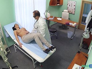 Hidden camera at the hospital films fake tits Evelyn Black having sex