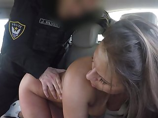 Sexy babe ass fucked by horny officer then jizzed