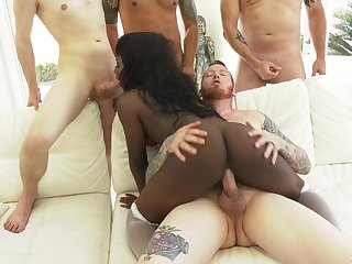 Several white guys fuck anal hole and deep throat of black babe Noemie Bilas