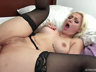 Charming blonde wife in stockings and lingerie having morning sex