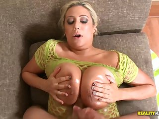 Melodie oils heavy boobs to rub Preston Parker's cock