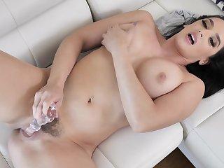 Sexy brunette toys her furry snatch like a goddess