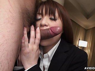 Horny dude fucks half naked Asian girl Kimoko Tsuji in ripped pantyhose