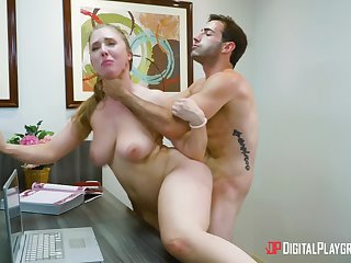 Hot office porn for the new guy with his female boss