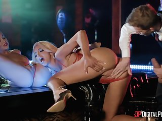 Abigail Mac and Nicolette Shea wow a stud in the strip club