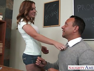 Super duper curvaceous secretary Tiff Bannister gives boss a ride on top
