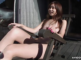 Dirty minded Asian piece of baggage Chiaki dildos her hairy love tunnel