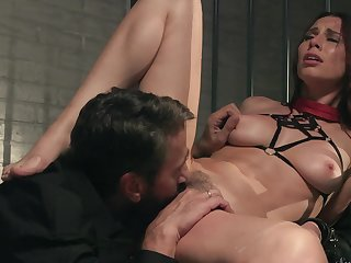 Babe is ready for punishment and follows all master's instructions