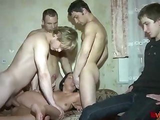 Slender dark-haired is having gang lovemaking while her bf is eyeing her in activity and loving
