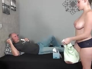 Dark haired stunner is having molten fuck-fest with an aged boy, just for the joy of it