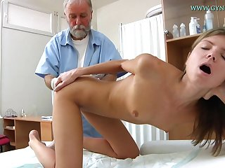 Blonde babe comes to get her sweet pussy checked-up
