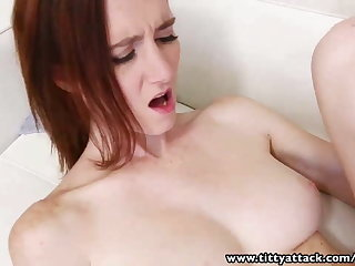 TittyAttack Naturally busty skinny freckled ginger pounded