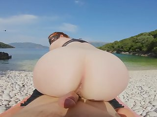 Ginger Sea Beach Yoga Pants Excercise Turns into Reverse Cowgirl Creampie