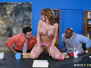 Hot white cutie gets gangbanged during a job interview